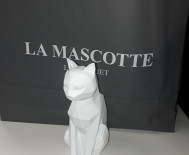 Statue  origami chat blanc